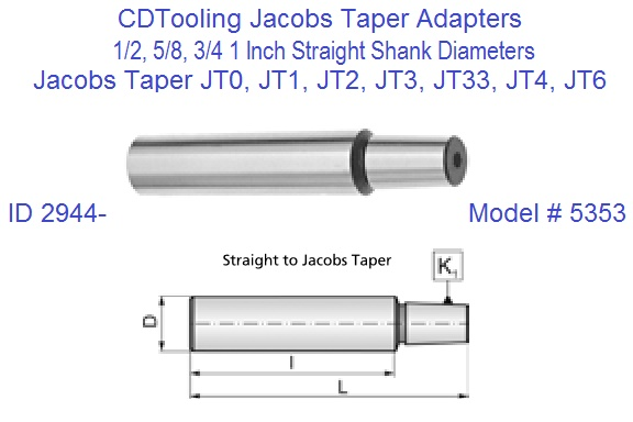 Straight Shank To Jacobs Taper Jt Adapters Arbors Jt0